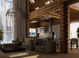Интерьер дома из бруса стильный дизайн загородных